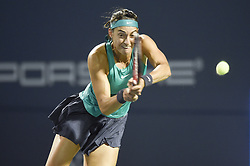 August 21, 2018 - New Haven, CT, USA - The ball skips off the service line and past second seed Caroline Garcia of France during her match against Aliaksandra Sasnovich of Belarus during their second-round match at the Connecticut Open Tennis Tournament in New Haven, Conn., on Tuesday, Aug. 21, 2018. (Credit Image: © John Woike/TNS via ZUMA Wire)