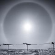 Sun halo over the SuperDARN antenna array, South Pole Station