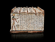 Ancient Egyptian shabti box, wood, Intermediate Period, 21st-22nd Dynasty (1076-746 BC), Thebes, Egyptian Museum, Turin.  Black background,<br /> <br /> Floor 1 room 10 of Museum - Among the 401 shabti found in this tomb were 36 overseerers, one for every 10 servants. These were maent to serve the deceased in the afterlife .<br /> <br /> If you prefer to buy from our ALAMY PHOTO LIBRARY  Collection visit : https://www.alamy.com/portfolio/paul-williams-funkystock/ancient-egyptian-art-artefacts.html  . Type -   Turin   - into the LOWER SEARCH WITHIN GALLERY box. Refine search by adding background colour, subject etc<br /> <br /> Visit our ANCIENT WORLD PHOTO COLLECTIONS for more photos to download or buy as wall art prints https://funkystock.photoshelter.com/gallery-collection/Ancient-World-Art-Antiquities-Historic-Sites-Pictures-Images-of/C00006u26yqSkDOM