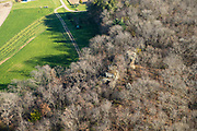 Aerial view of Devil's Chimney, a rock formation on private land in rural Dane County, Wisconsin.
