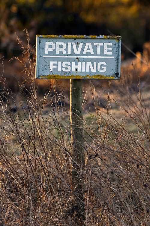 Private Fishing sign by River Windrush, Oxfordshire, United Kingdom