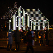 'Lines' by Ross Ashton and Karen Monid as part of Cheriton Light Festival 2018 at All Souls Church, Cheriton High Street, Folkestone, Kent, United Kingdom. The series of lines and patterns is designed to integrate with the architecture of the building, alongside a specially composed soundtrack to fuse large-scale projection, sound and metamorphosis.  (photo by Andrew Aitchison / In pictures via Getty Images)