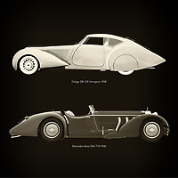 For the lover of old classic cars, this combination of a Delage D8-120 Aerosport 1938 and Mercedes-Benz SSK-710 1930 is truly a beautiful work to have in your home.<br /> The classic Delage D8-120 Aerosport and the beautiful Mercedes-Benz SSK are among the most beautiful cars ever built.<br /> You can have this work printed in various materials and without loss of quality in all formats.<br /> For the oldtimer enthusiast, the series by the artist Jan Keteleer is a dream come true. The artist has made a fine selection of the very finest cars which he has meticulously painted down to the smallest detail. – –<br /> -<br /> <br /> BUY THIS PRINT AT<br /> <br /> FINE ART AMERICA<br /> ENGLISH<br /> https://janke.pixels.com/featured/delage-d8-120-aerosport-1938-and-mercedes-benz-ssk-710-1930-jan-keteleer.html<br /> <br /> WADM / OH MY PRINTS<br /> DUTCH / FRENCH / GERMAN<br /> https://www.werkaandemuur.nl/nl/shopwerk/Delage-D8-120-Aerosport-1938-en-Mercedes-Benz-SSK-710-1930/755147/132?mediumId=1&size=60x60<br /> –