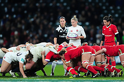La Toya Mason of England looks to put the ball into a scrum - Mandatory byline: Patrick Khachfe/JMP - 07966 386802 - 26/11/2016 - RUGBY UNION - Twickenham Stadium - London, England - England Women v Canada Women - Old Mutual Wealth Series.