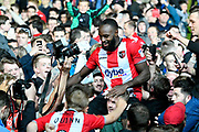 Hiram Boateng (44) of Exeter City celebrates at full time the 3-1 win over Lincoln City which takes Exeter to Wembley for the League 2 playoff final during the EFL Sky Bet League 2 match between Exeter City and Lincoln City at St James' Park, Exeter, England on 17 May 2018. Picture by Graham Hunt.
