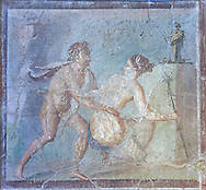 Satyr surprising a maiden, a Roman erotic fresco painting from Pompeii, 50-79 AD , inv no 27693 , Secret Museum or Secret Cabinet, Naples National Archaeological Museum .<br /> <br /> If you prefer to buy from our ALAMY PHOTO LIBRARY  Collection visit : https://www.alamy.com/portfolio/paul-williams-funkystock - Scroll down and type - Roman Art Erotic  - into LOWER search box. {TIP - Refine search by adding a background colour as well}.<br /> <br /> Visit our ROMAN ART & HISTORIC SITES PHOTO COLLECTIONS for more photos to download or buy as wall art prints https://funkystock.photoshelter.com/gallery-collection/The-Romans-Art-Artefacts-Antiquities-Historic-Sites-Pictures-Images/C0000r2uLJJo9_s0