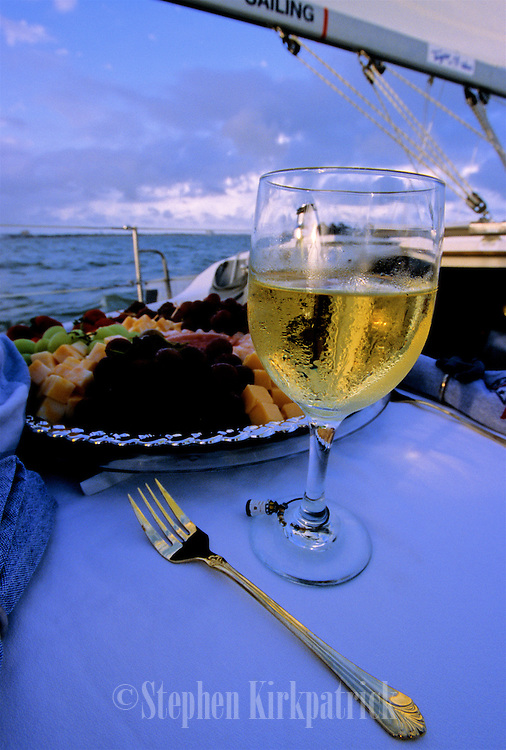 Wine and appetizers on sailboat near Biloxi, Mississippi.