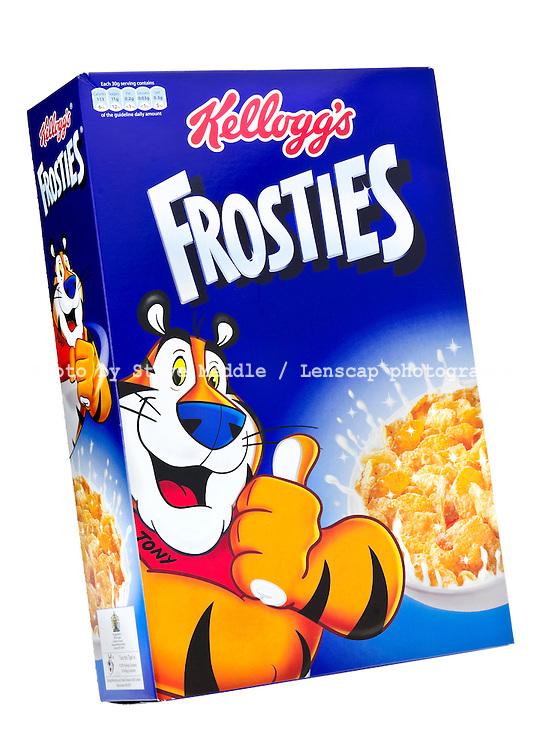 Box of Kellog's Frosties Breakfast Cereal - Jan 2013.