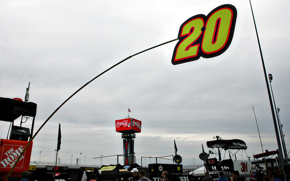 Apr 28, 2012; Richmond, VA, USA; A view of NASCAR Sprint Cup driver Joey Logano's (20) pit sign before the Capital City 400 at Richmond International Raceway. Mandatory Credit: Peter Casey-US PRESSWIRE.