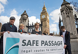 © Licensed to London News Pictures. 07/03/2017. London, UK. From left: Rhys Ifans, Tracey Seaward and Juliet Stevenson join campaigners in Parliament Square to call on the government to reinstate the Dubs amendment. The Dubs Amendment, which was introduced by Lord Dubs who was brought to Britain as a child on the Kindertransport and aims to bring child refugees to safety in Britain, was suspended by the government in February 2017. Photo credit: Rob Pinney/LNP