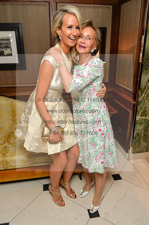 """Left to right, LADY VICTORIA HERVEY and her mother YVONNE, MARCHIONESS OF BRISTOL at a party to celebrate the publication of """"Lady In Waiting: The Wristband Diaries"""" By Lady Victoria Hervey held at The Goring Hotel, Beeston Place, London on 9th May 2016."""