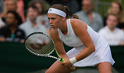 July 1, 2019 - London, GREAT BRITAIN - Jelena Ostapenko of Latvia in action during her first round match at the 2019 Wimbledon Championships Grand Slam Tennis Tournament against Su-Wei Hsieh of Chinese Taipeh (Credit Image: © AFP7 via ZUMA Wire)