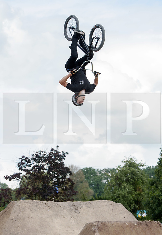© Licensed to London News Pictures.  09/07/2017; Bath & West Showground, Somerset, UK. NASS, National Action Sports Show festival. The finals of the Dirt Competition, which was won by Jack Clark. The world's leading BMX and skate athletes will compete in the West Country this weekend as the IBMXFF World Championships and Europe's leading skate contest return to NASS Festival. The annual action sport and music festival, which takes place on the 6th – 9th July near Bristol will host the BMX World Championships for the second year running, after the games returned to the UK for the first time in 28 years last year. The event will be one of the largest global BMX freestyle and skate events of the year with more than 450 professional and amateur athletes from over 40 countries heading to the festival. Earlier this month it was announced that BMX Freestyle has been added to the programme of the Tokyo 2020 Olympic Games highlighting the growth and incredible standard of this sport. Olympics hopefuls and reigning BMX Champions Logan Martin, Vince Byron and Nick Bruce will all return to defend their titles across Pro Park, Vert and Dirt. The competition will be hosted by BMX's greatest legend, Mat Hoffman. Picture credit : Simon Chapman/LNP