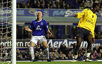 Photo: Paul Thomas.<br /> Everton v Arsenal. Carling Cup. 08/11/2006.<br /> <br /> Andy Johnson of Everton has a chance go begging to score.