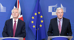 United Kingdom Secretary of State for Exiting the European Union, David Davis and Michel Barnier, the European Chief Negotiator of the Task Force for the Preparation and Conduct of the Negotiations with the United Kingdom under Article 50, dubbed the 'Brexit' ahead of a meeting at EU Commission headquarters in Brussels, Belgium, on June 19, 2017. Photo by Andia/ABACAPRESS.COM