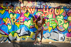 Revellers on the parade route during the Notting Hill carnival in west London. Picture date: Monday August 28th, 2017. Photo credit should read: Matt Crossick/ EMPICS Entertainment.