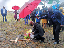 South Africa - Durban - KZN Premier Sihle Zikalala accompanied by Transport, Community Safety and Liaison MEC Bheki Ntuli, Social Development MEC Nonhlanhla Khoza on Tuesday 01 September 2020, visited the families of the five women who were found murdered in the Mthwalume on the South Coast. There was a wreath laying ceremony at the crime scene before the Premier proceeds to the families of the victims. Premier used the visit to Mthwalume to launch a 365 days campaign against Gender-Based Violence in the province. <br /> Picture : Motshwari Mofokeng / African News Agency (ANA)