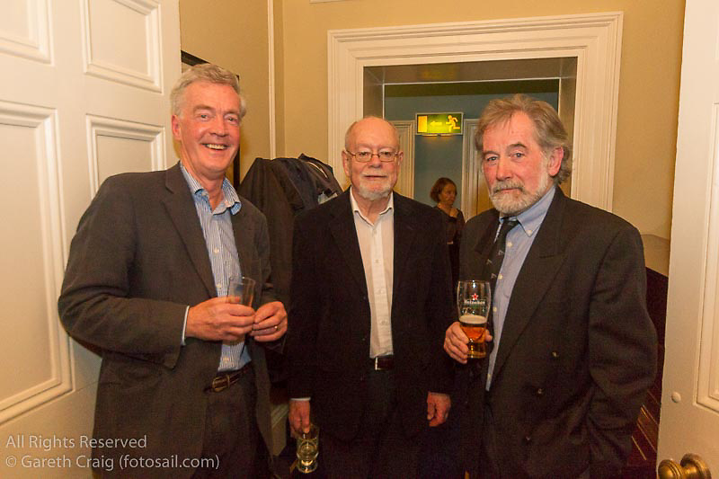 (l to r) Brian Craig, Tom Kirby, and John Murphy at the reunion night to celebrate 50 years of the Irish Fireball Class, held at the Royal St George YC.
