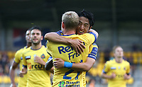 20170805 - Beveren , Belgium / Waasland Beveren v Kv Mechelen / <br /> Ryota MORIOKA - Celebration<br /> Football Jupiler Pro League 2017 - 2018 Matchday 2 / <br /> Picture by Vincent Van Doornick / Isosport