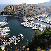 General View of yachts in Fontvielle harbour in Monaco.