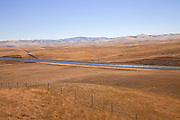 The California Aqueduct is the state's largest and longest water transport system, stretching 444 miles from the Sacramento-San Joaquin Delta in the north to Southern California, Central Valley, California, USA
