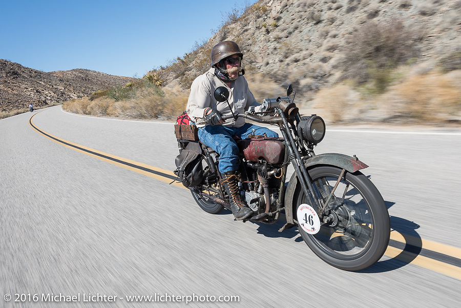 Jeff Erdman of Wisconsin riding his 1916 Harley-Davidson in the Motorcycle Cannonball Race of the Century. Stage-14 ride from Lake Havasu CIty, AZ to Palm Desert, CA. USA. Saturday September 24, 2016. Photography ©2016 Michael Lichter.