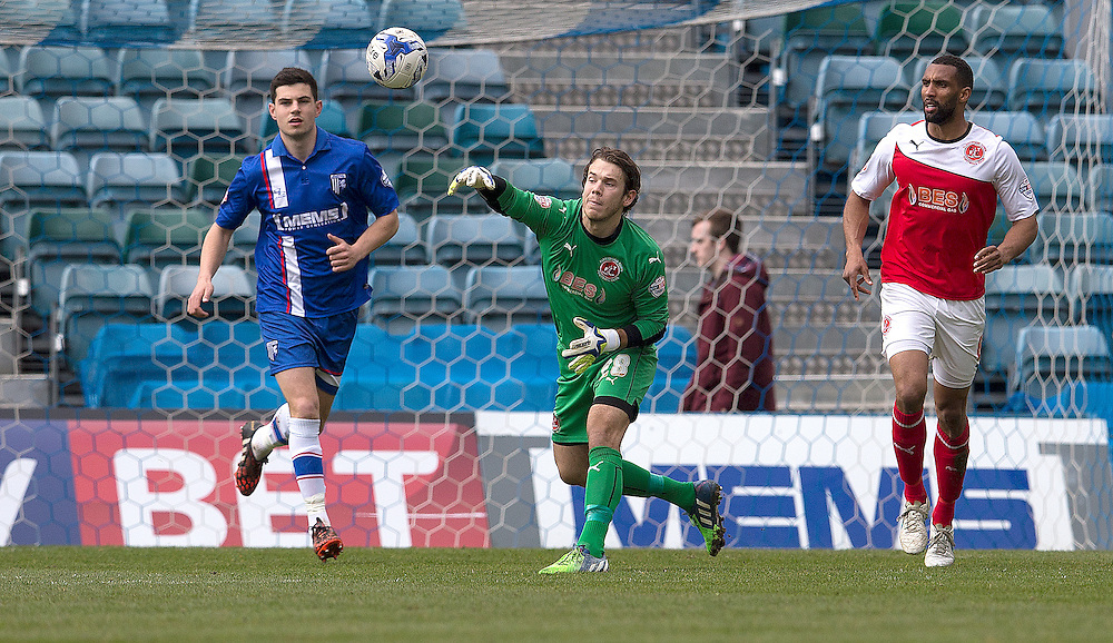 Fleetwood Town's goalkeeper Chris Maxwell throws the ball out to set another attack up<br /> <br /> Photographer Stephen White/CameraSport<br /> <br /> Football - The Football League Sky Bet League One - Gillingham v Fleetwood Town -  Friday 3rd April 2015 - MEMS Priestfield Stadium - Gillingham<br /> <br /> © CameraSport - 43 Linden Ave. Countesthorpe. Leicester. England. LE8 5PG - Tel: +44 (0) 116 277 4147 - admin@camerasport.com - www.camerasport.com