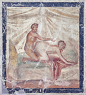 A Roman erotic fresco painting from Pompeii form a private house venereum, a room for sexual activities, 50-79 AD , , inv no 27696 , Secret Museum or Secret Cabinet, Naples National Archaeological Museum .<br /> <br /> If you prefer to buy from our ALAMY PHOTO LIBRARY  Collection visit : https://www.alamy.com/portfolio/paul-williams-funkystock - Scroll down and type - Roman Art Erotic  - into LOWER search box. {TIP - Refine search by adding a background colour as well}.<br /> <br /> Visit our ROMAN ART & HISTORIC SITES PHOTO COLLECTIONS for more photos to download or buy as wall art prints https://funkystock.photoshelter.com/gallery-collection/The-Romans-Art-Artefacts-Antiquities-Historic-Sites-Pictures-Images/C0000r2uLJJo9_s0