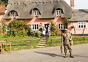 Filming a scene for Stanley's War film directed by Tim Curtis outside the Sorrel Horse pub, Shottisham, Suffolk, England, UK