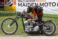 BCMoto invited builder Austin Andrella with his custom at the BC Moto Show at the Tennessee Motorcycles and Music Revival at Loretta Lynn's Ranch. Hurricane Mills, TN, USA. Saturday, May 22, 2021. Photography ©2021 Michael Lichter.