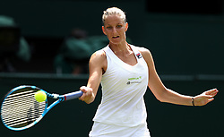 Karolina Pliskova in action on day three of the Wimbledon Championships at the All England Lawn Tennis and Croquet Club, Wimbledon.