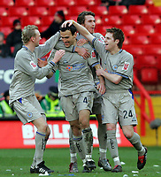 Photo:  Frances Leader.<br /> Charlton v Leicester. FA cup fifth round. <br /> The Valley<br /> 19/02/2005<br /> Leicester's Nikos Dabizas is congratulated by his team mates for his goal against Charlton in the first half.