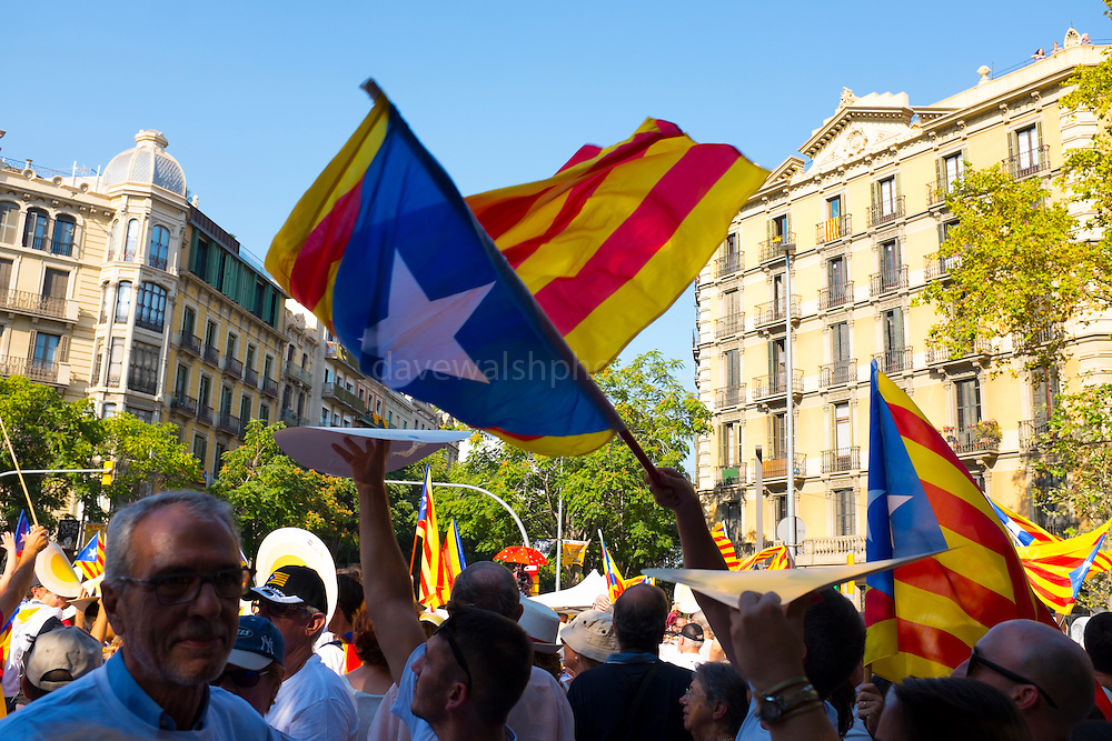 Catalan Independence day celebrations, September 11, 2016, in Barcelona. This day ommemorates the fall of Barcelona during the War of the Spanish Succession in 1714 and the subsequent lost of Catalan liberties, institutions and laws - but now is the day to call for Catalan Independence.