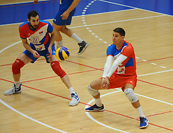 Nemanja Petric of Serbia and Neven Majstorovic of Serbia  during friendly volleyball match between National teams of Serbia and Slovenia, on August 18, 2017, in Belgrade, Serbia. Photo by Nebojsa Parausic / MN press / Sportida