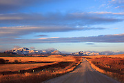 Road leading into the Rocky Mountain Front, Montana.