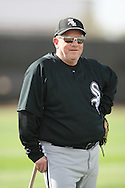 TUCSON - FEBRUARY 23:  Third base coach Jeff Cox #4 of the Chicago White Sox watches practice in Tucson Arizona on February 23, 2008. (Photo by Ron Vesely)