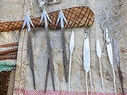 Arrowheads and Spearheads made by the Gidonwoduk tribe, the former Datoga blacksmith tribe. Today they are a separate tribe. They do not marry with Datoga since they discovered the secrets of blacksmithing. Photographed in Africa, Tanzania, Lake Eyasi