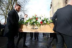 Stoke City goalkeeper Jack Butland (back left) and Burnley goalkeeper Joe Hart carry the coffin during the funeral service for Gordon Banks at Stoke Minster.
