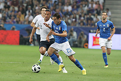 June 1, 2018 - Paris, Ile-de-France, France - Federico Chiesa (Italy) and Corentin Tolisso (France) competes for the ball during the friendly football match between France and Italy at Allianz Riviera stadium on June 01, 2018 in Nice, France..France won 3-1 over Italy. (Credit Image: © Massimiliano Ferraro/NurPhoto via ZUMA Press)