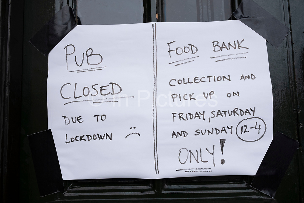 Pub closed but food bank collections still available as the second national lockdown continues with just over a week before the new tier system begins, on 23rd November 2020 in Birmingham, United Kingdom. The new national lockdown is a huge blow to the economy and for individual businesses who were already struggling with only offering limited services.