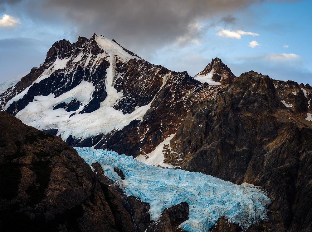 NATIONAL PARK LOS GLACIARES, ARGENTINA - CIRCA FEBRUARY 2019: Moutains and Glacier Piedras Blancas close to El Chalten in National Park los Glaciares in Argentina.