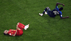 July 10, 2018 - Saint-Petersburg, RUSSIA - Belgium's Eden Hazard and France's Blaise Matuidi lay down injured at the semi final match between the French national soccer team 'Les Bleus' and Belgian national soccer team the Red Devils, in Saint-Petersburg, Russia, Tuesday 10 July 2018. ..BELGA PHOTO LAURIE DIEFFEMBACQ (Credit Image: © Laurie Dieffembacq/Belga via ZUMA Press)