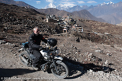 Denver Joe Hicks riding back to Muktinath from the Buddhist temple above the town on day-6 of our Himalayan Heroes adventure riding from Muktinath to Tatopani, Nepal. Sunday, November 11, 2018. Photography ©2018 Michael Lichter.
