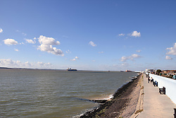 Canvey Island, Essex UK - wall protects housing behind from flooding