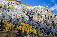 First snow of the autumn season in the San Juan Mountains.  Viewed from the Crystal Lake area.   Colorado.