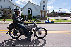 Thomas Trapp of Germany on his 1914 Harley-Davidson during the Motorcycle Cannonball Race of the Century. Stage-2 from York, PA to Morgantown, WV. USA. Sunday September 11, 2016. Photography ©2016 Michael Lichter.
