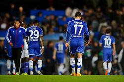 Chelsea Midfielder Eden Hazard (BEL) leave the field dejected as his side lose 2-1 - Photo mandatory by-line: Rogan Thomson/JMP - Tel: 07966 386802 - 18/09/2013 - SPORT - FOOTBALL - Stamford Bridge, London - Chelsea v FC Basel - UEFA Champions League Group E