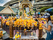 22 AUGUST 2015 - BANGKOK, THAILAND: Erawan Shrine in Bangkok reopened Wednesday, August 19, after more than 20 people were killed and more than 100 injured in a bombing at the shrine Monday, August 17, 2015. The shrine is a popular tourist attraction in the center of Bangkok's high end shopping district and is an important religious site for Thais. No one has claimed responsibility for the bombing.             PHOTO BY JACK KURTZ