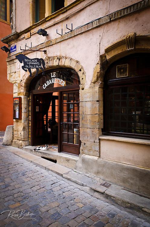 Le Cabaretier Restaurant in old town Vieux Lyon, France (UNESCO World Heritage Site)
