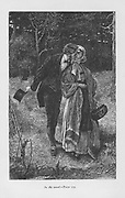 Hetty Sorrel, beloved of Adam Bede, meeting the young squire Arthur Donnithorne in the woods. Hetty has his child and is convicted of infanticide and condemned to death. Through Donninghorne's intervention the death sentence is commuted to transportation.  'Adam Bede' by George Eliot , first published 1859. Illustration by William Small (1843-1929) from an edition published c1885.